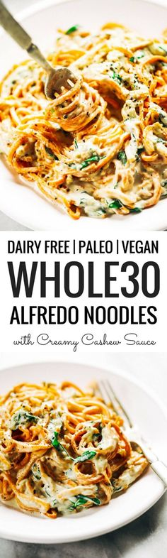 Whole30 creamy carrot noodle alfredo- made with vegan cashew cheese sauce. Whole30, paleo, and dairy free. An easy healthy family recipe everyone will love. Perfect for meal prep; can be made ahead and frozen- pulled out at your convenience! Easy whole30 dinner recipes. Whole30 recipes. Whole30 lunch. Whole30 recipes just for you. Whole30 meal planning. Whole30 meal prep. Healthy paleo meals. Healthy Whole30 recipes. Easy Whole30 recipes