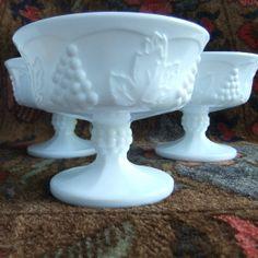 4 Milk Glass Sherbet Bowls - Vintage Indiana Glass Dessert Cups, Colony Harvest…