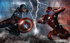 Download wallpapers Iron Man vs Captain America, 4k, battle, superheroes, Iron Man, aptain America