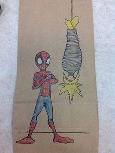 dad draws lunchbag drawings #children #crafts