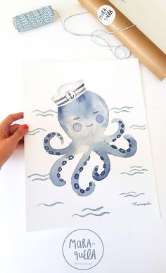 "Little Sailor Octopus illustration, for a funny and original baby decor, from Sailor Set that includes two more illustrations: lighthouse and paper boat with text ""I am the captain of my boat"". Watercolor Drawing, Watercolor Cards, Watercolor Illustration, Watercolor Paintings, Watercolor Sea, Animal Drawings, Art Drawings, Octopus Drawing, Boat Drawing"
