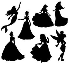 Disney princess silhouette clipart pack . Disney princess vector and png images. You will receive the following  7 SVG vector files (compatible with Silhouette Studio Cameo, Cricut, etc.) 7 PNG files, Transparent Background - High resolution 300 dpi 7 EPS files, editable with Illustrator and some other design software 7 DXF files  INSTANT DOWNLOAD This is a digital product no physical product
