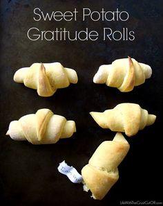 Sweet Potato Gratitude Rolls http://www.lifewiththecrustcutoff.com/sweet-potato-gratitude-rolls/
