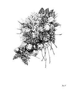 Winter Plant Bouquet Art Print  11x14 by MarrowAndLeaf on Etsy