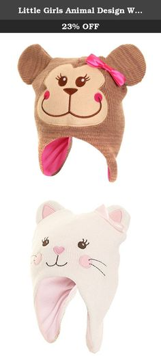 Little Girls Animal Design Winter Thermal Trapper Hat With Ears (One Size) (Monkey). Kids trapper hat with animal face, bow and ears. Available in cat and monkey designs. Warm, soft fleece lining. To fit: 8-13 years. 100% Acrylic. Hand wash only.