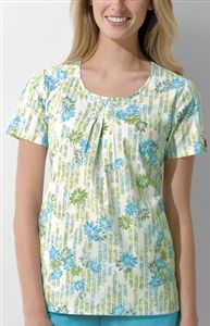 "Dickies Round Neck Top in ""Striped Daisies"" 82770-SMTDA This Junior fit round neck top features release pleats at the center front, side angled pockets, side vents, and back elastic for shaping. Center back length: 26 1/2"". $24.50 #scrubs #scrubcouture #nurses"