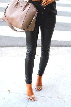 Nude heels + leather pants.