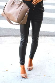 Nude heels + leather pants.