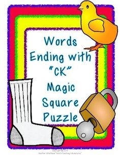 Words Ending with CK Magic Square Puzzle ($)
