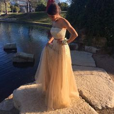 Champagne 2 Pieces Prom Dresses Crystal Beaded Sequins