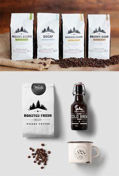 coffee branding Woods Coffee by Man Man Van - coffee Coffee Shop Branding, Coffee Logo, Coffee Packaging, Coffee Coffee, Coffee Labels, Coffee Percolator, Juice Packaging, Nitro Coffee, Creative Coffee