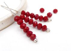 Siam Opaque Glass Crystal Dark Red Washer Faceted Beads by vess65