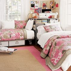 Great girly bedroom- corner option for sharing a room- pottery barn teen