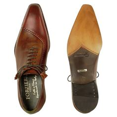 Forzieri Brown Italian Handcrafted Leather Cap Toe Dress Shoes 7 US | 6.5 UK | 41 EU at FORZIERI