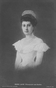 Princess Marie Louise, nee Hannover, wearing the kokoshnic meander tiara. She wed Prince Maximilian of Baden on 10 July 1900, and is grandmother to the current Maximilian, Margrave of Baden