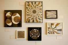 Love this picture wall with laser cut images and other cool designs