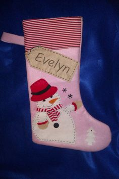 Personalized Christmas Stocking - Handmade- Pink Snowman