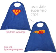 I made this reversible superhero cape for my little friend Mikey. Mikey is one of my favorite little boys- so sweet, smiley, and easy going. Superhero Font, Superhero Capes, Superhero Birthday Party, Superhero School, 2nd Birthday, Sewing For Kids, Diy For Kids, Basic Sewing, Sewing Hacks
