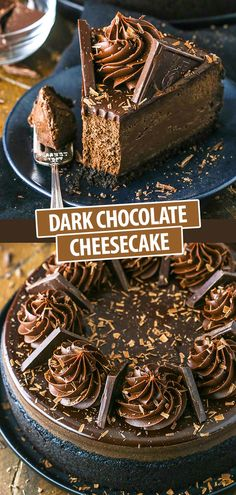 Decadent Dark Chocolate Cheesecake! Rich, creamy and full of flavor! #darkchocolate #cheesecake