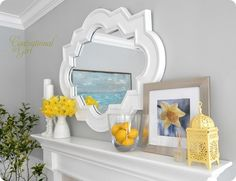 Clean and crisp yellow white mantle. I think a trip to Hobby Lobby might be in Clean and crisp yellow white mantle. I think a trip to Hobby Lobby might be in Hobby Lobby, White Mantle, Summer Mantel, Diy Home Decor For Apartments, Sweet Home, Living Room Mirrors, Grey Room, Yellow Accents, Mellow Yellow