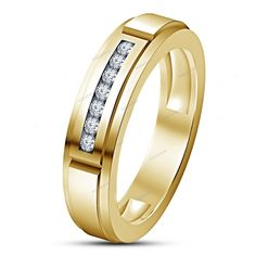 Round Cut Simulated Diamond in Channel Set 14K Gold Finish Men's Band Ring 7-14 #beijojewels #MensEngagementBandRing
