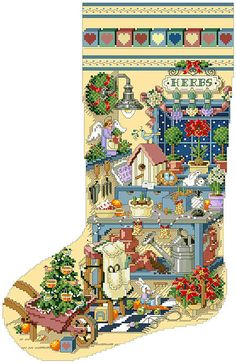 Heirloom Christmas stocking pattern - Gardener's Delight - originally from Better Homes and Gardens - Cross Stitch and Country Crafts.
