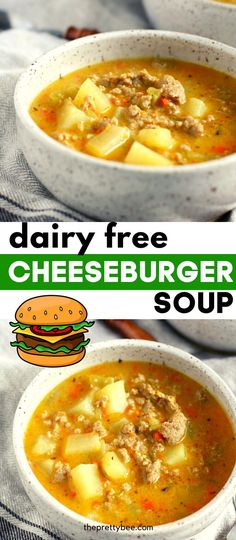 This is the soup you need this fall! Cozy, comforting cheeseburger soup is so filling and delicious. This easy recipe is gluten free and dairy free, too! Gluten Free Recipes For Dinner, Delicious Dinner Recipes, Dairy Free Recipes, Vegetarian Recipes, Creamy Soup Recipes, Chili Recipes, Beef Dishes, Food Dishes, Perfect Food