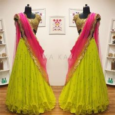 21 Half Saree Color Combinations That You Didn't Think of Earlier Pink Things pink color kumkum Lehenga Saree Design, Half Saree Lehenga, Lehnga Dress, Long Gown Dress, Lehenga Designs, Floral Lehenga, Yellow Lehenga, Bollywood Lehenga, Saree Gown