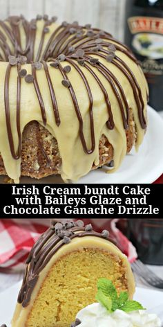 This Irish Cream bundt cake with Baileys glaze and chocolate ganache drizzle takes bundt cake and steps it up a notch. Added flavor of Baileys liqueur infuses each part of this bundt cake making this cake recipe extra special and sure to please. Cakes To Make, How To Make Cake, Crazy Cakes, Irish Cream Cake, Baileys Irish Cream, Food Cakes, Cupcake Cakes, Cupcakes, Cake Recipes