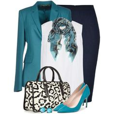 """""""Turquoise, Black & White"""" by brendariley-1 on Polyvore"""