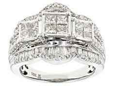 White Diamond 10k Yellow Gold Ring 2.00ctw - RGD022   JTV.com Diamond Rings For Sale, Diamond Gemstone, Diamond Earrings, Cluster Ring, Gold Material, Yellow Gold Rings, Princess Cut, Round Diamonds, Jewels