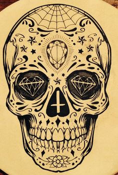 Sugar skull tattoo sun moon in the eyes Skull Candy Tattoo, Mexican Skull Tattoos, Sugar Skull Tattoos, Sugar Skull Art, Candy Skulls, Mexican Skulls, Sugar Skulls, Sugar Tattoo, Sugar Skull Design