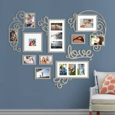 Picture Frame Sets For Wall Collage Multi Photo Love Heart Wall Decor Unique Picture Frames, Picture Frame Crafts, Picture Frame Sets, Collage Picture Frames, Frames On Wall, Cadre Photo Diy, Collage Mural, Silver Wall Art, Family Wall Decor