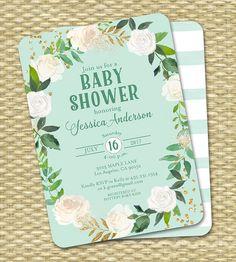 Gender Neutral Baby Shower Invitation Floral por SunshinePrintables