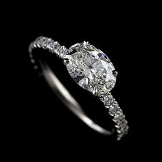 Platinum Diamond Modern Style Cut Down Micro Pave Oval Engagement Ring