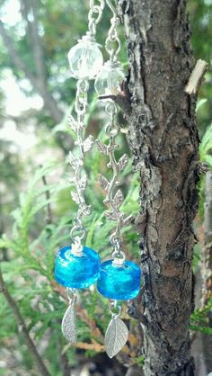Blue dichroic glass beads, silver connectors & leaf dangles