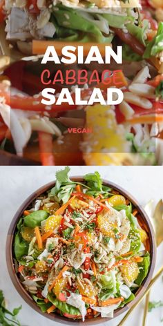 This Asian Cabbage Salad is absolutely addictive! Greens and shredded cabbage are tossed in a magical cabbage salad dressing that is sweet, spicy, sour, and a bit salty. Oranges, fresh veggies, and crunchy toasted almonds take this easy Asian cabbage slaw over the top! The perfect compliment to grilled meats at a summer BBQ.| SUNKISSEDKITCHEN.COM | #Sunkissedkitchen #salads #asiansaladrecipe #cabbage #cabbagesaladrecipes #asianfood #cleaneatingrecipes #healthyeatingrecipes #glutenfreesalads
