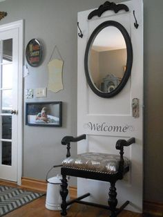 Re-Scape.com - Beautiful hall tree from an old door and chair!