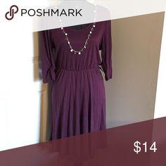 Plum Dress Plum color dress, quarter length sleeves, belt loops on side, scoop neck Dresses