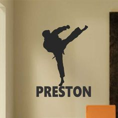 Vinyl Wall Lettering Sports Karate Kick Personalized Name Kids Room Quotes Martial Arts Decal