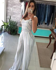 Casual Chic Outfits, Casual Outfits For Teens, Fashion Outfits, Cool Outfits, Jumpsuit Outfit, Casual Jumpsuit, Striped Jumpsuit, Low Cut Bodysuit, Dress Indian Style