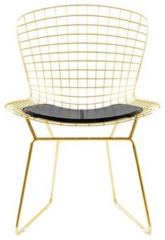 Gold Wire Side Chair With Black Seat Pad - modern - Dining Chairs - Advanced Interior Designs