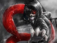 1600x1200 Wallpaper kaneki ken, tokyo ghoul, look, gesture, claw, rain