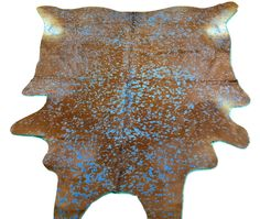 8/' X 7/' Lime green//Brown Cow Hide Rug C-255 Dyed Green Acid Washed Cowhide Rug