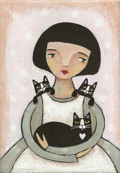 Girl with Tuxedo Cats by Kilkennycat, via Flickr