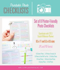 Back to School Photo Checklist- several free printable lists at this link for various occasions, good ideas for collages.