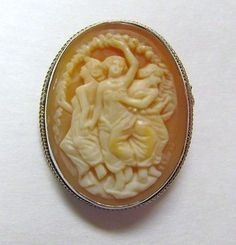 Antique Victorian Shell Cameo 3 Graces 9k Gold Sterling Silver Pin Brooch