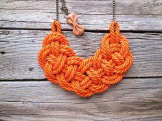 Orange Rope necklace Nautical rope knot necklace by NasuKka, $34.00