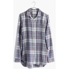 MADEWELL Ex-Boyfriend Shirt in Masmodil Plaid ($80) ❤ liked on Polyvore featuring tops, flannel, masmodil plaid, plaid button up shirts, oversized shirt, cotton shirts, long plaid boyfriend shirt and blue top