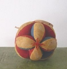 Old Amish Blue Red & Gold Linen Puzzle Ball Pin Cushion Hang Strings